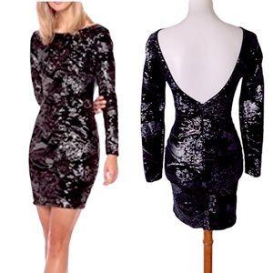 Dress the Population Lola Black Sequin Dress Small